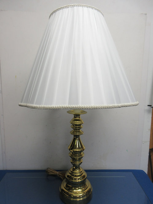 "Shiny gold base lamp with IVORY shade 28"" high"