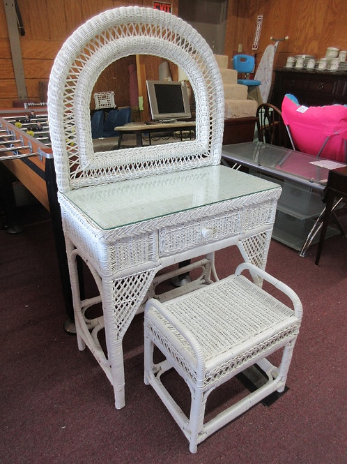 White wicker vanity with mirror, bench and glass topper