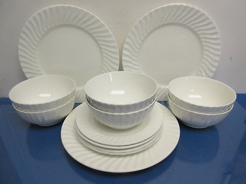 White ribbed edge dinnerware set - 15 piece, service for 4 with some extras - no