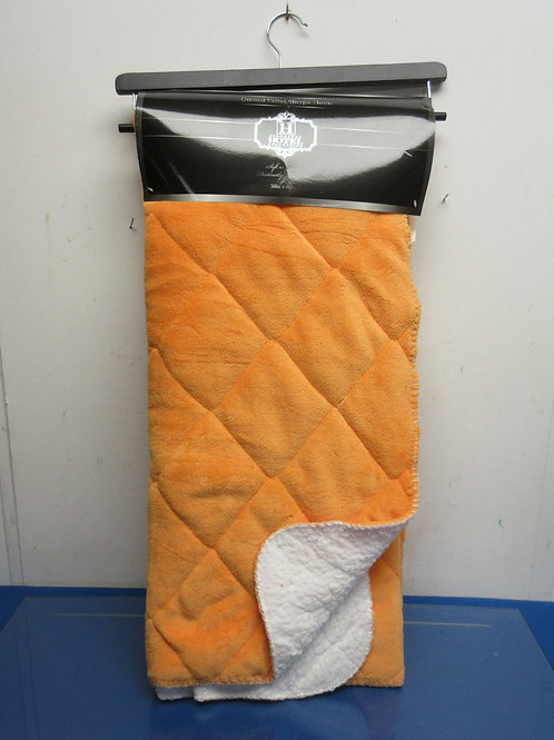"Orange quilted velvet sherpa throw 50x60""  New"