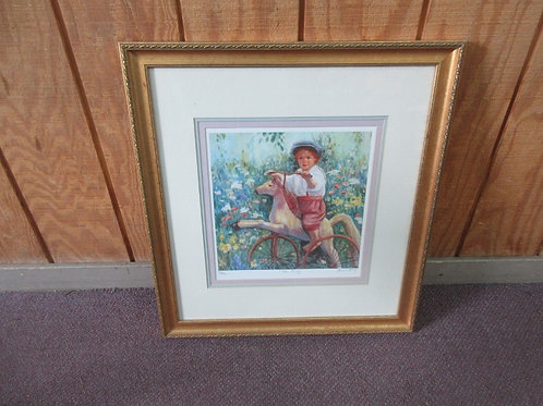 """Numbered print by Irene Borg - """"The pony"""" with multiple mat layers in gold frame"""