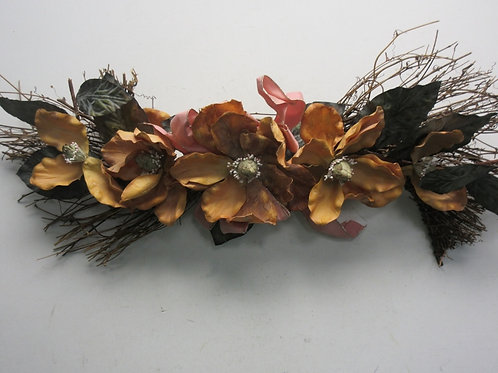 """Vine swag wall hanging w/dried flowers, 30"""" long"""