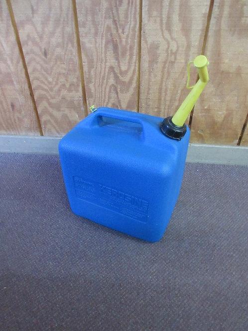 Blue 5 gallon plastic gas can