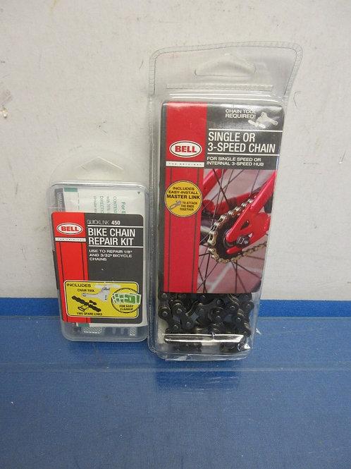 Bell single or 3 speed bike chain and  bike chain repair kit