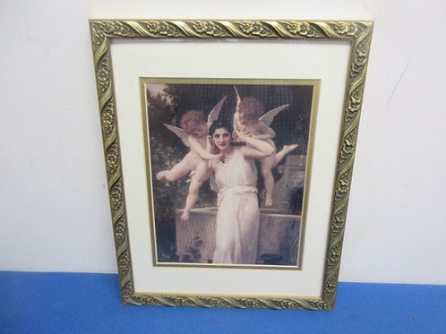 "Vintage print of lady and 2 cherubs, 15x17"""