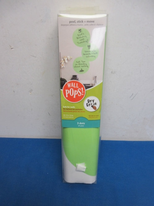 """Wall pops!  peel and stick, 3 dots - green - dry erase - 13x13"""" - new"""