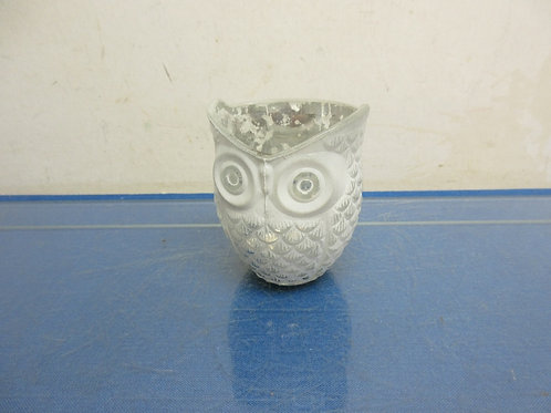 Glass owl tealight candle holder