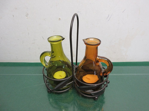 Faux oil & vinegar Candle Holders with metal caddy