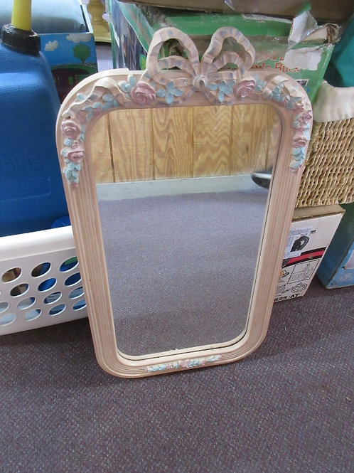 "Rectangular hanging pink framed mirror w/floral design 13x24"""