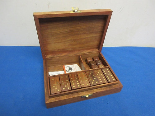 Small wood domino set in wood carry case