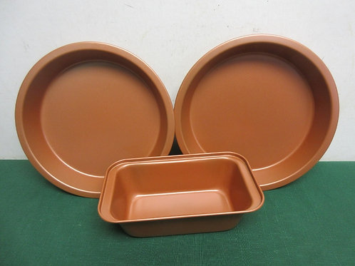 """Non stick copper type 8"""" cake pans and one loaf pan, New never used"""