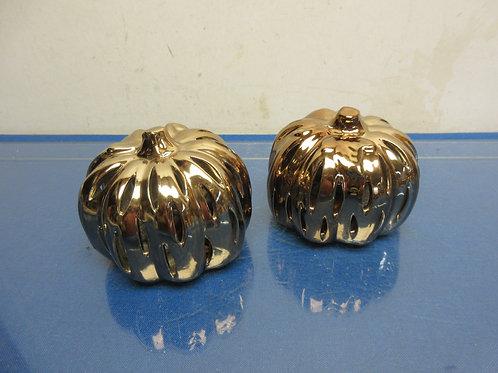 Pair of small gold potpourri pumpkins