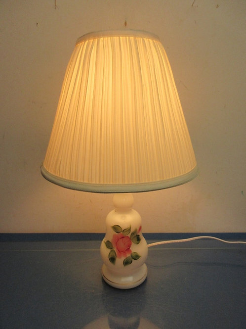 White base lamp with painted rose design, white shades 18""