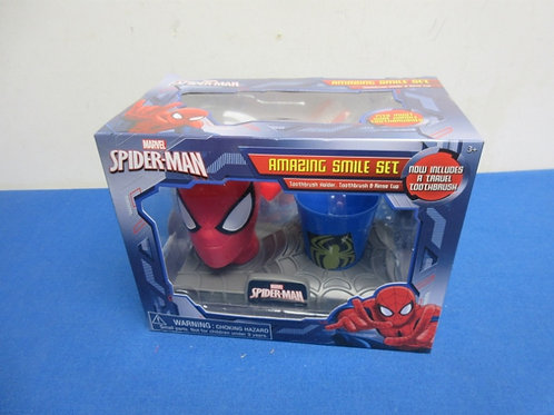 Spiderman amazing smile set - toothbrush holder, toothbrush and rinse cup - new