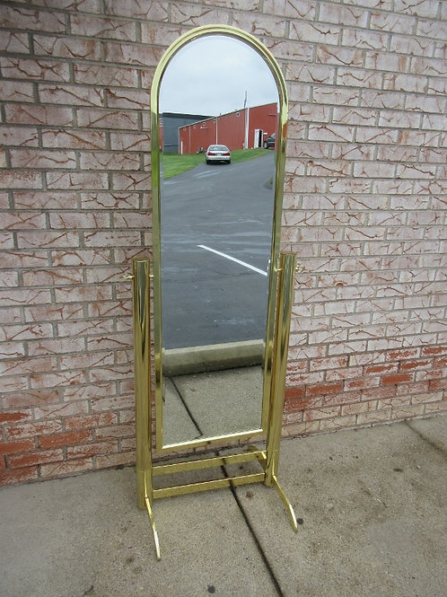 Gold arched floor mirror on stand, swivels