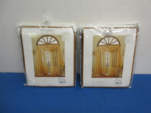 """TWO packages of Elegance sheer window panels and scarfe, 60""""/ new in pkg"""