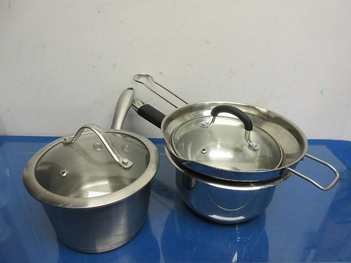 """Pampered Chef non stick cookware, 2 saucepans and a 9.5"""" fry pan, each with lid"""