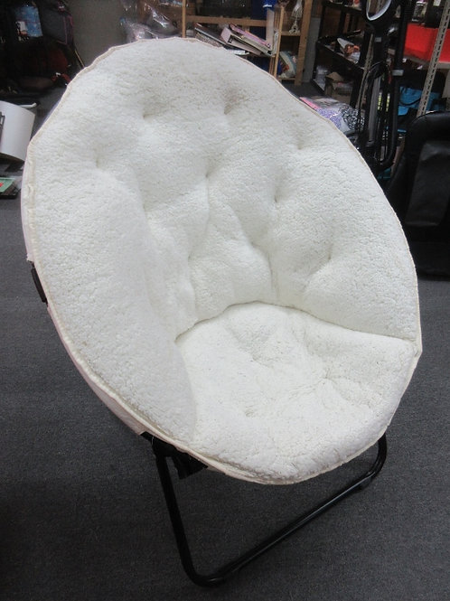 Large fuzzy ivory fabric elongated fold up disc chair