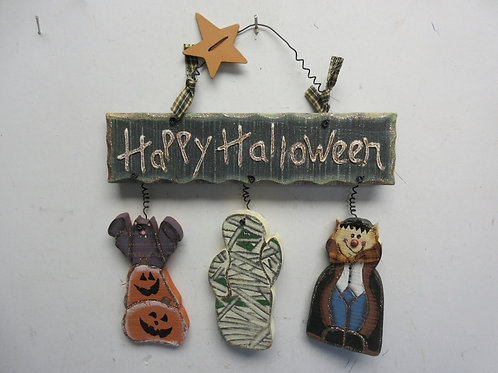 Happy Halloween wood sign w/pumpkins, mummy and dracula