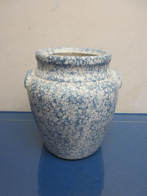 """Blue and white sponge  painted crock style utensil holder, 9""""high"""
