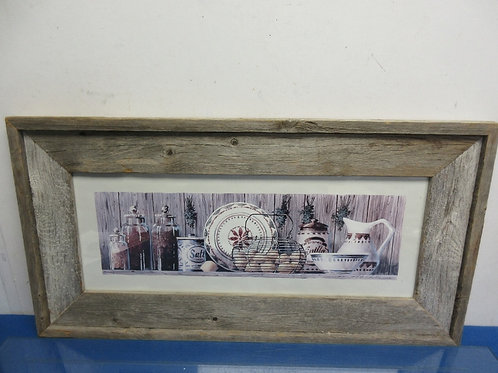 """Print of a country shelf filled with canisters in wire rustic frame 13x25"""""""