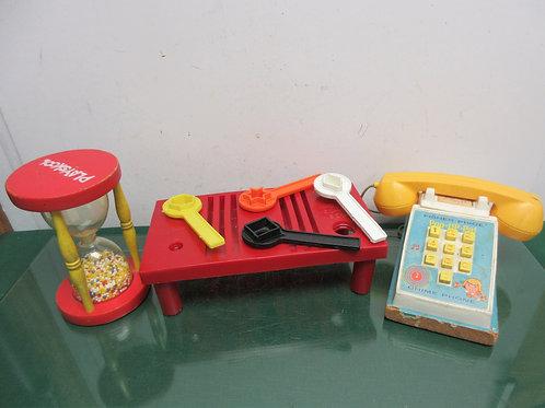 Set of 3 vintage toys fisher price pop up pal phone, playskool bead hourglass, &