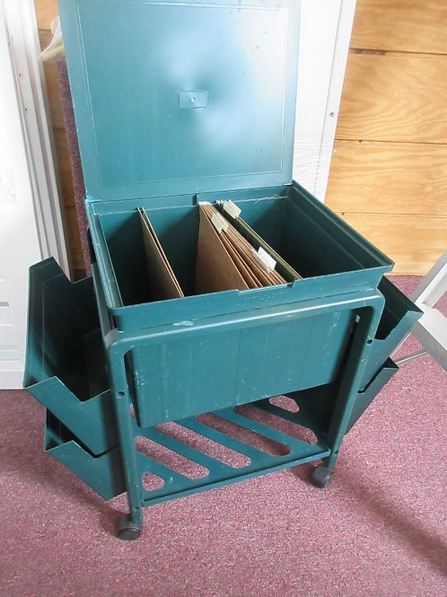 Green rolling office cart with file organizer and side storage slots