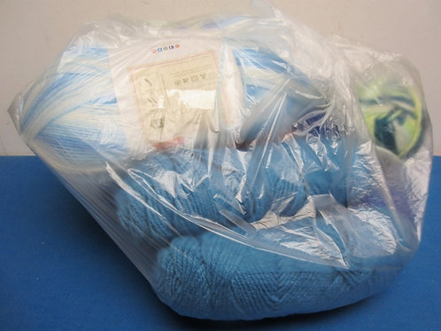 Large bag of yarn, over 10 skeins, Colors- blues and greens