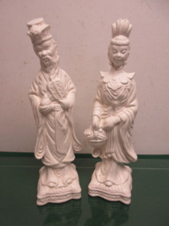 """Pair of white Asian figure statues, one male, one female 13.5"""" high"""