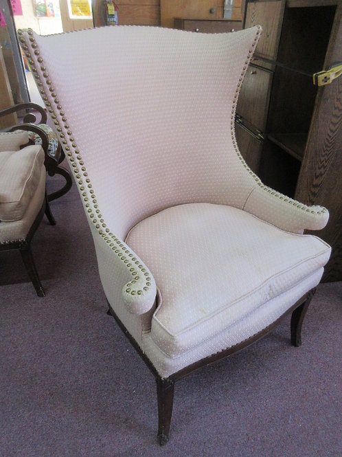 Vintage peach armed accent chair with nail head edging, 2 available
