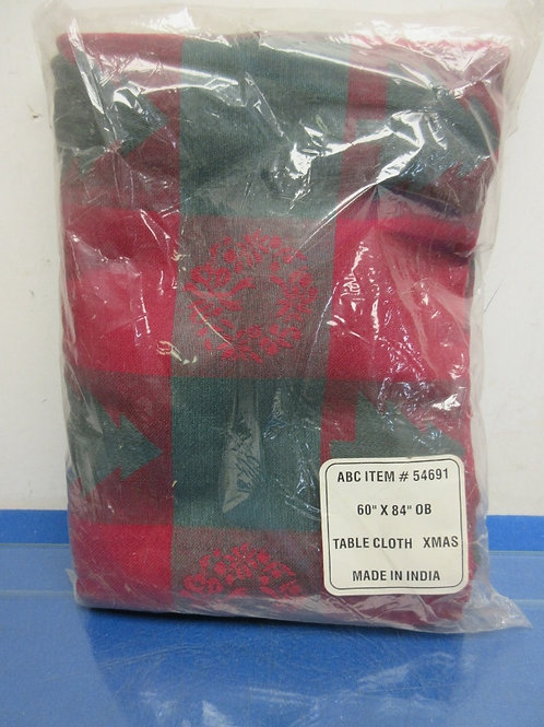 Red and green christmas tablecloth, 60x84 oblong, new in package