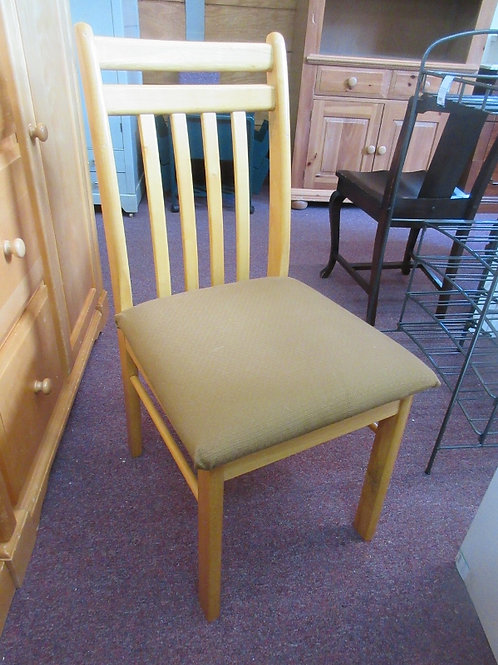 Natural slat back accent chair with brown upholstered seat