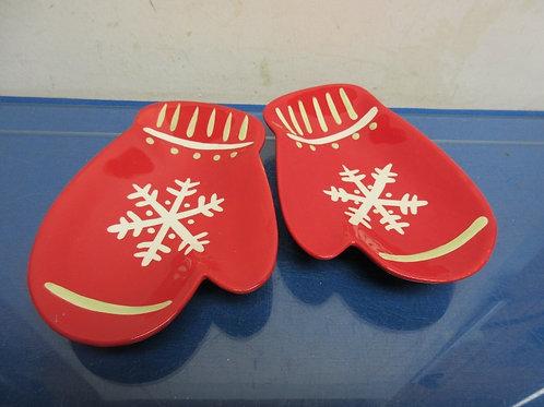 Pair of Hallmark red mitten shaped dishes