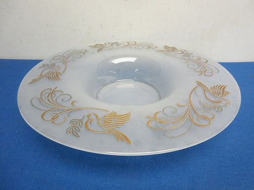 """Large decorative frosted glass bowl, 14"""" diameter"""
