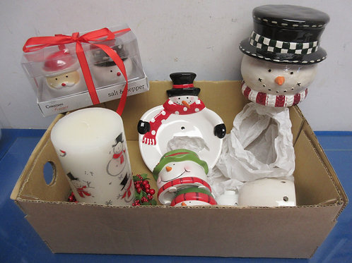 Set of 6 snowman theme items-salt/pepper, soap dish, votives, candle & plate...