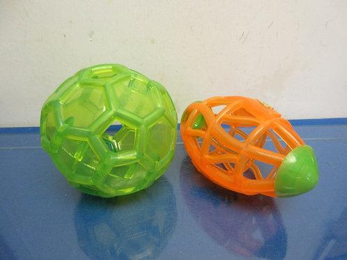 Pair of light up night balls, green soccer and orange football