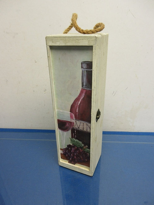 Wood case-holds one bottle of wine-wine bottle painted on lid
