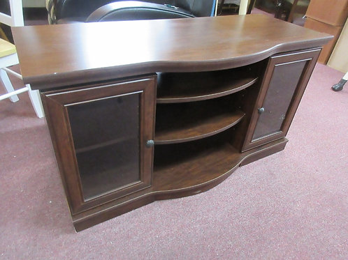 TV stand w/curved front, 2 side glass doors,& adjustable shelves 19x47x25H