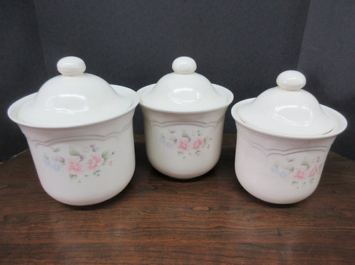 Pfaltzgraff tea rose 3pc Canister set with lids