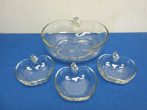 Large glass apple shaped dish with 3 small apple dishes