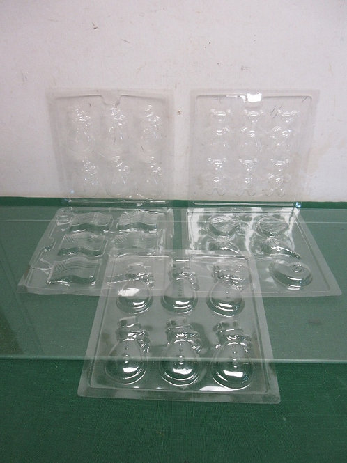 Set of 5 clear plastic candy molds