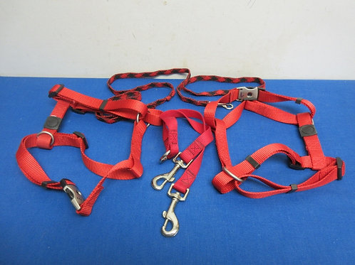Pair of red heavy duty dog harnesses, 2 leashes