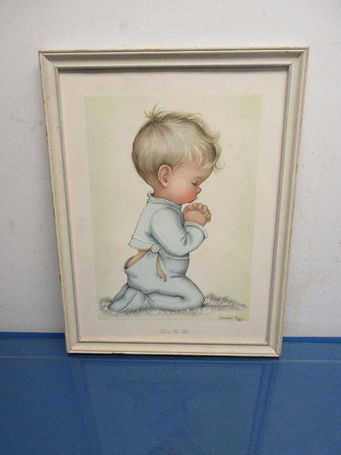 Vintage print of little boy praying in white frame - 13x17