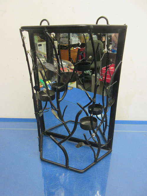 """Table top tea light candle stand with mirror background 12""""high"""