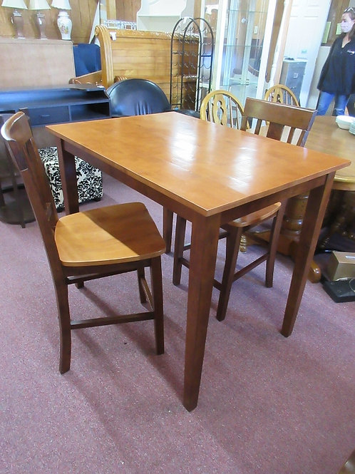 """Pub table and 2 stools with backs, two tone natural finish 30x42x36""""high"""