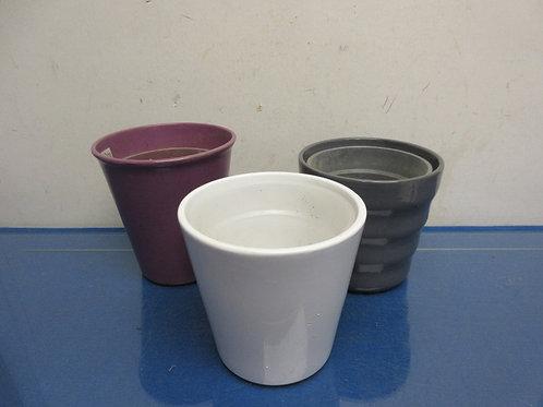 "Set of 3 vase like potting planters, white, gray, lilac,5"" tall"