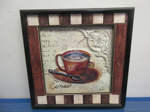 Dimensional cup of coffee in black frame