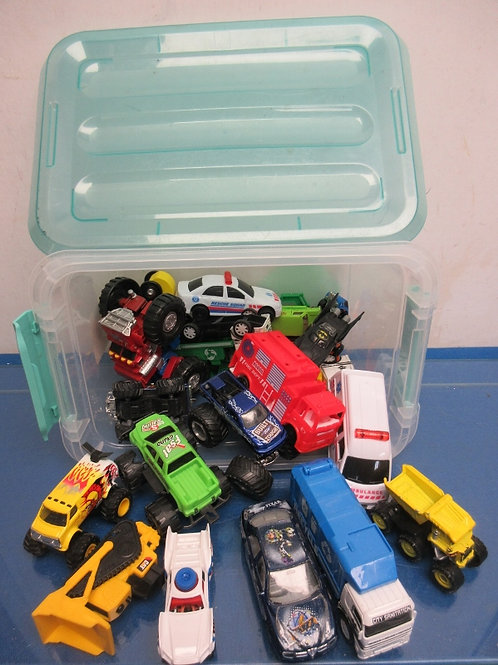 Small bin of over 20 assorted vehicles
