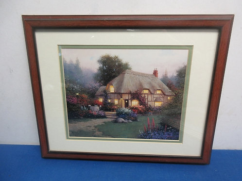 Cottage scene print in wood frame, 12x15