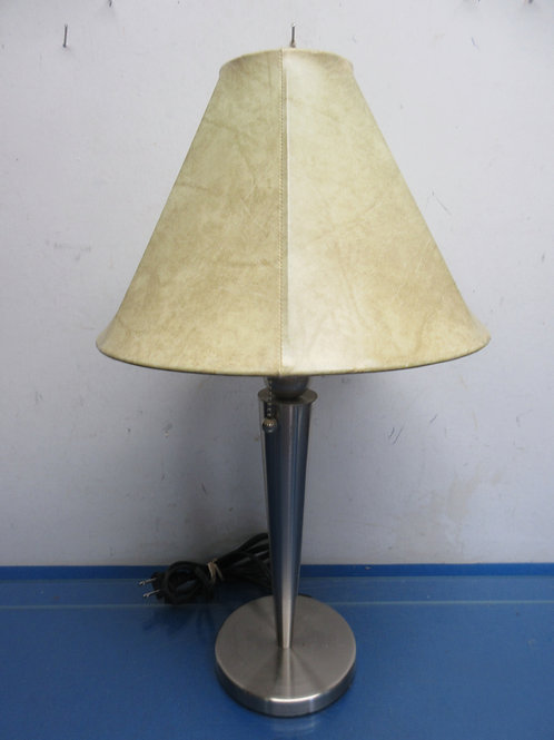 """Small stainless bedside lamp with faux leather shade, 18"""" higjh"""